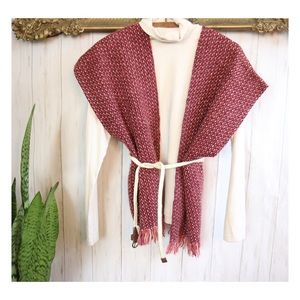 Hand Woven Knit Sweater Vest with Fringe Hem